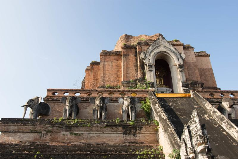 Wat Chedi Luang Temple in Chang Mai Thailand stockfotografie