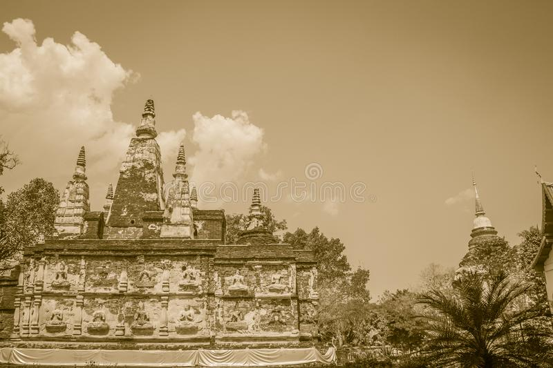 Wat Chet Yot (Wat Jed Yod) or Wat Photharam Maha Vihara, the public Buddhist temple with crowning the flat roof of the rectangular. Windowless building are royalty free stock photo