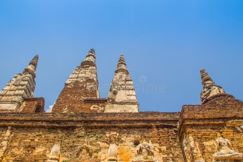 Wat Chet Yot (Wat Jed Yod) or Wat Photharam Maha Vihara, the public Buddhist temple with crowning the flat roof of the rectangular. Windowless building are stock photography