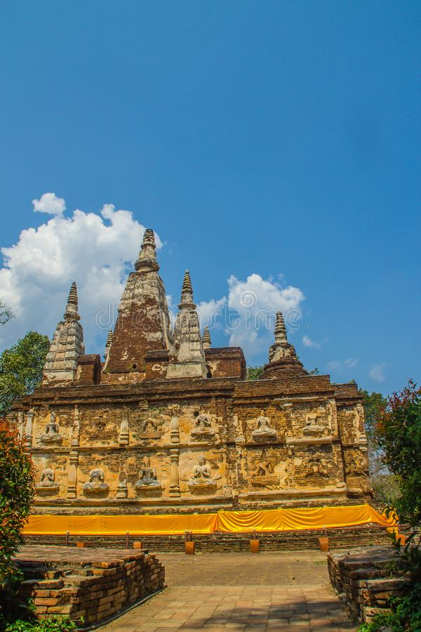 Wat Chet Yot (Wat Jed Yod) or Wat Photharam Maha Vihara, the public Buddhist temple with crowning the flat roof of the rectangular. Windowless building are royalty free stock photography