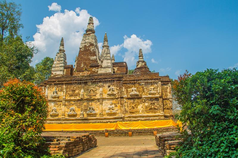 Wat Chet Yot (Wat Jed Yod) or Wat Photharam Maha Vihara, the public Buddhist temple with crowning the flat roof of the rectangular. Windowless building are royalty free stock photos