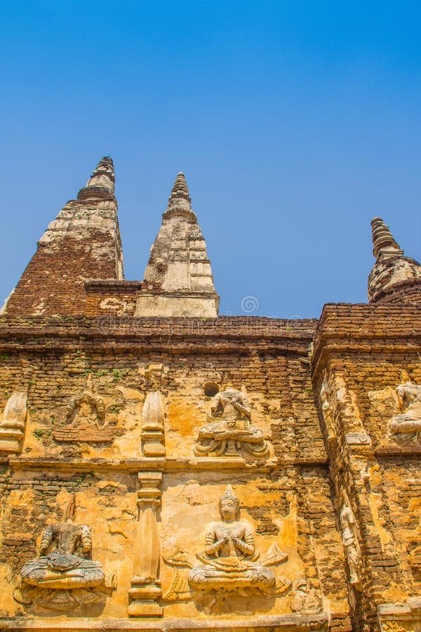 Wat Chet Yot (Wat Jed Yod) or Wat Photharam Maha Vihara, the public Buddhist temple with crowning the flat roof of the rectangular. Windowless building are royalty free stock image