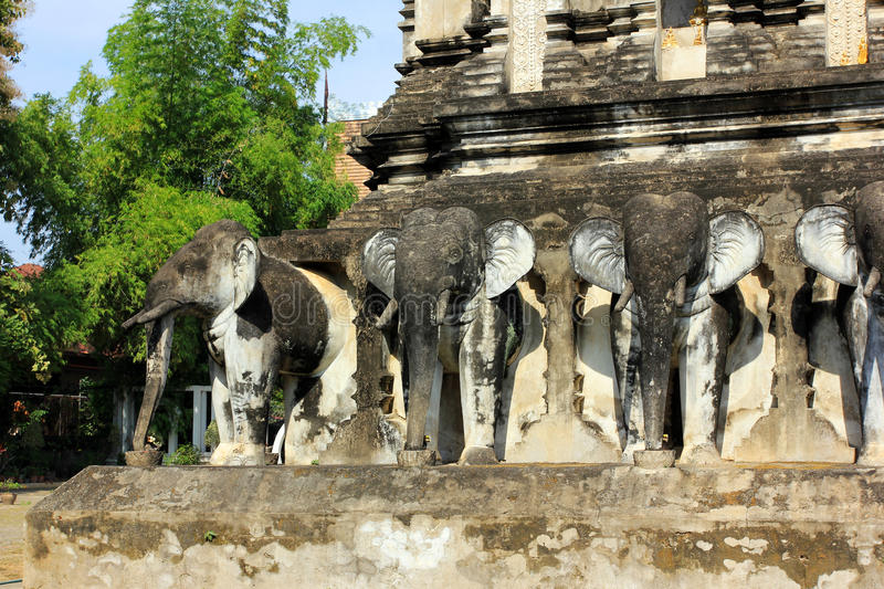 Wat Chiang Man buddhist temple, Chiang Mai - details, Thailand stock image