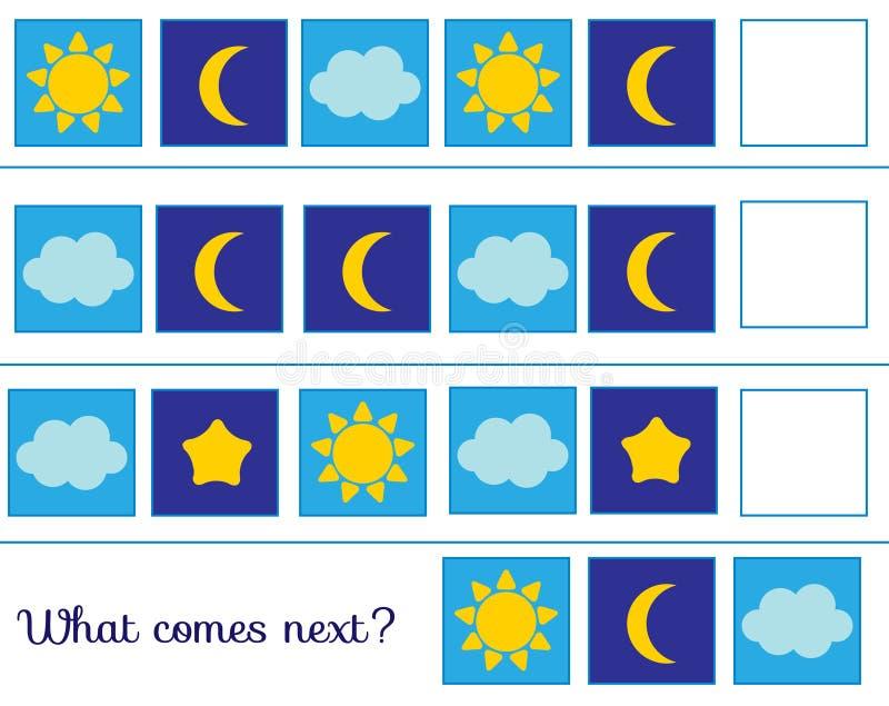 Wat daarna komt zet de rij voort Onderwijskinderenspel Studielogica voor peuters Weersymbolen stock illustratie