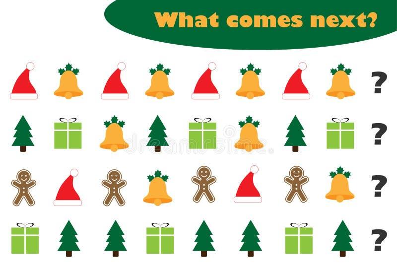 Wat daarna met Kerstmisbeelden voor kinderen, het onderwijsspel van de Kerstmispret voor jonge geitjes, peuteraantekenvelactivite royalty-vrije illustratie