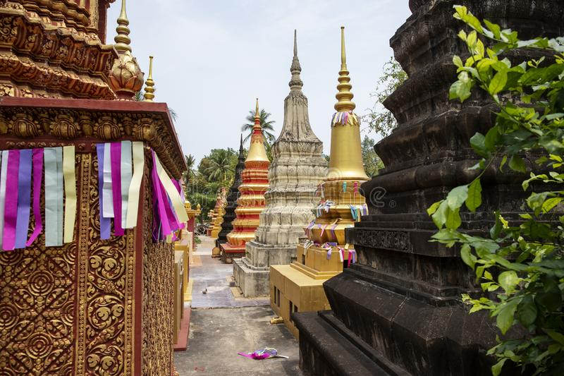 Wat Damnak burial pagodas in Siem Reap, Cambodia. Colorful buddhist pagoda architecture. Cambodian religious building. Siem Reap place of interest. Religious stock photos