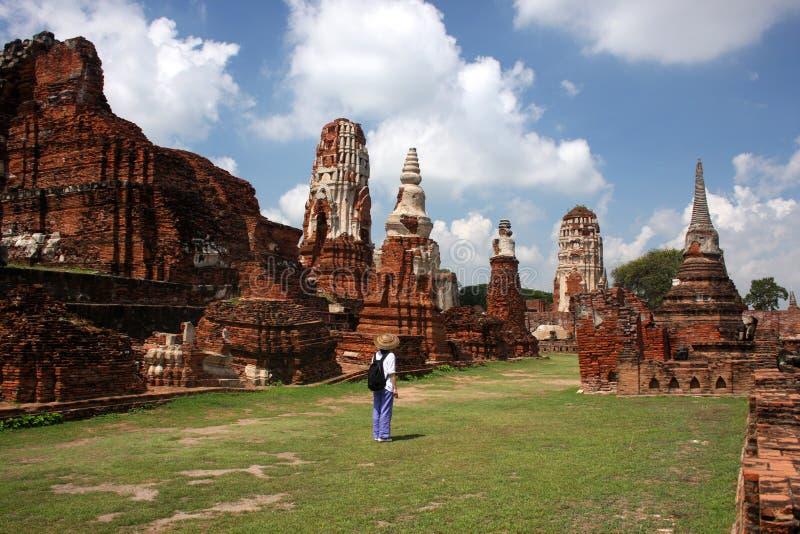 wat de temple de prha de mahathat d'ayutthaya photo stock