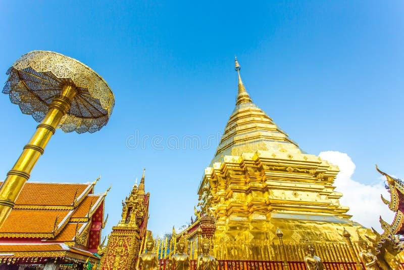 Wat dorato Phra della pagoda che Doi Suthep, chiangmai, Tailandia fotografie stock libere da diritti