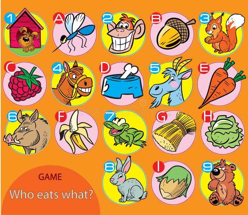 wat elk dier doet houd van te eten royalty-vrije illustratie