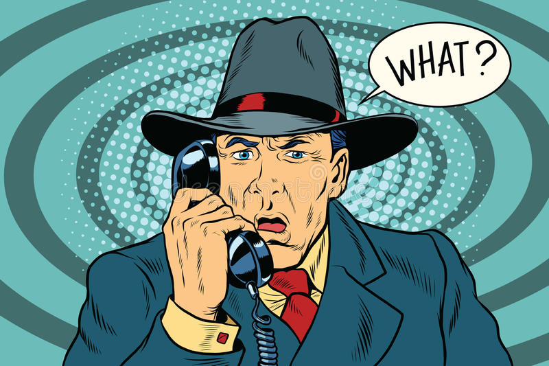 Wat het retro zakenman spreken op de telefoon verraste vector illustratie