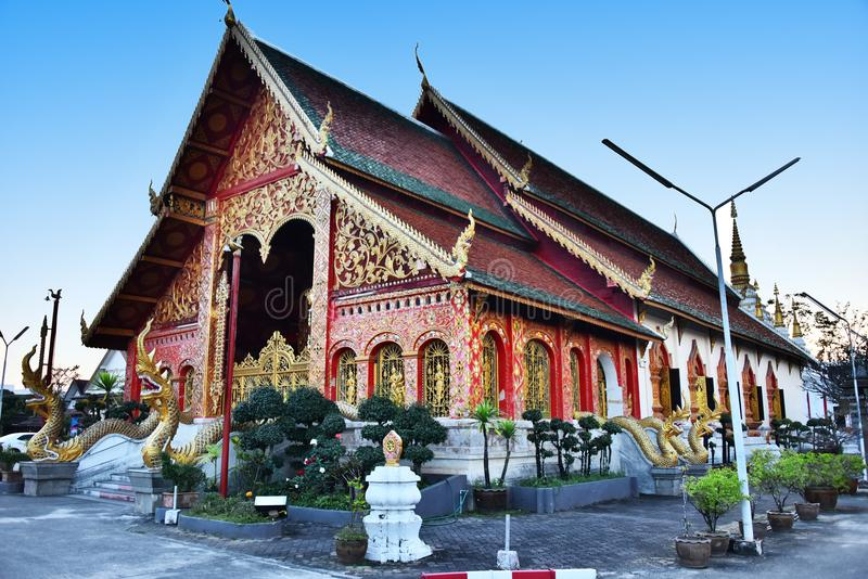 Wat Jed Yod, a Buddhist temple in Chiang Rai, Thailand.  royalty free stock photo