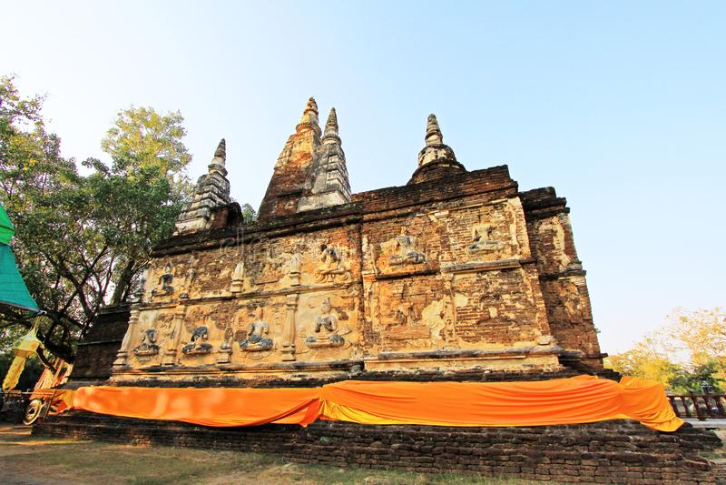 Wat Jed Yod Chiang Mai, Thailand royaltyfria foton