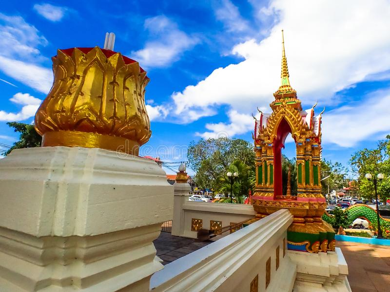 Wat Karon Temple destination scenic a popular tourist destination in Phuket Island Thailand Asia.  royalty free stock photos