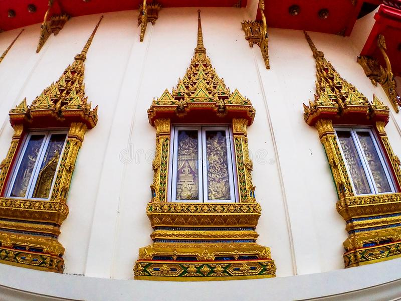 Wat Karon Temple destination scenic a popular tourist destination in Phuket Island Thailand Asia.  stock photo
