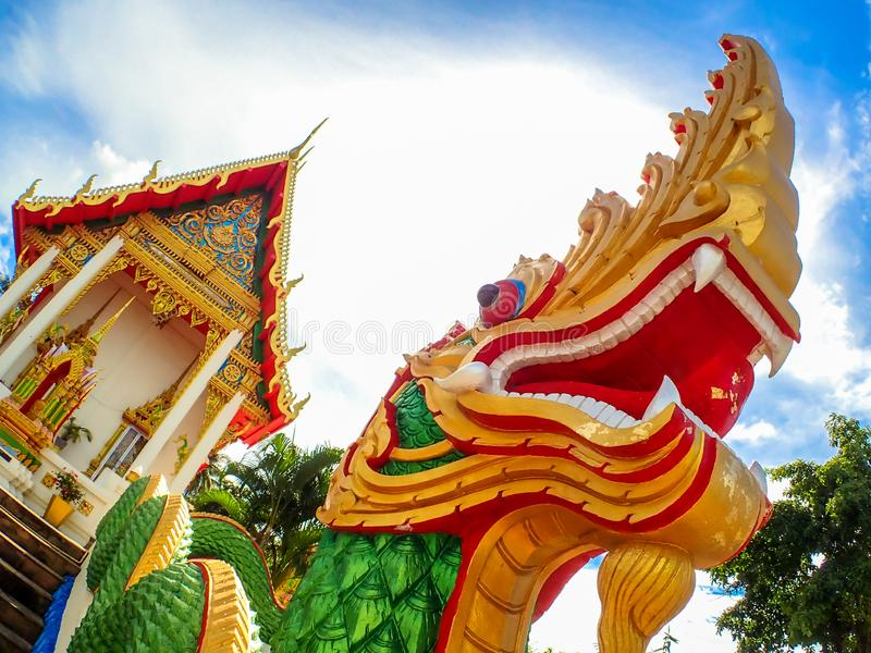 Wat Karon Temple destination scenic a popular tourist destination in Phuket Island Thailand Asia.  royalty free stock images