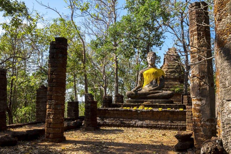 Wat Khao Phanom Phloeng old stature buddha. In Sisatchanalai Historical Park, Sukhothai province Thailand stock images