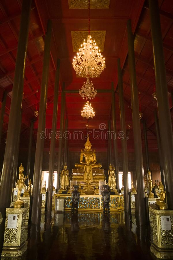 Wat Krathum Suea Pla temple ,Golden buddha temple in Thailand royalty free stock images
