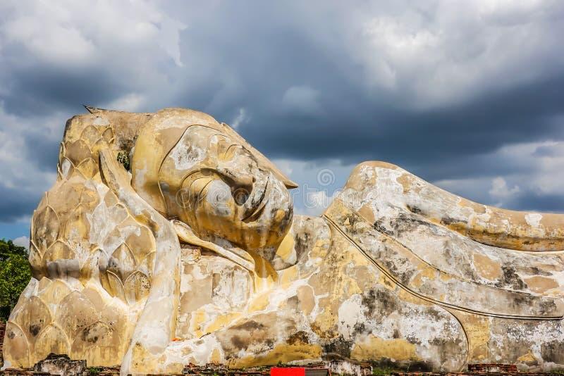 Wat Lokayasutharam, A buddhist temple in the city of Ayutthaya Historical Park, Thailand stock image