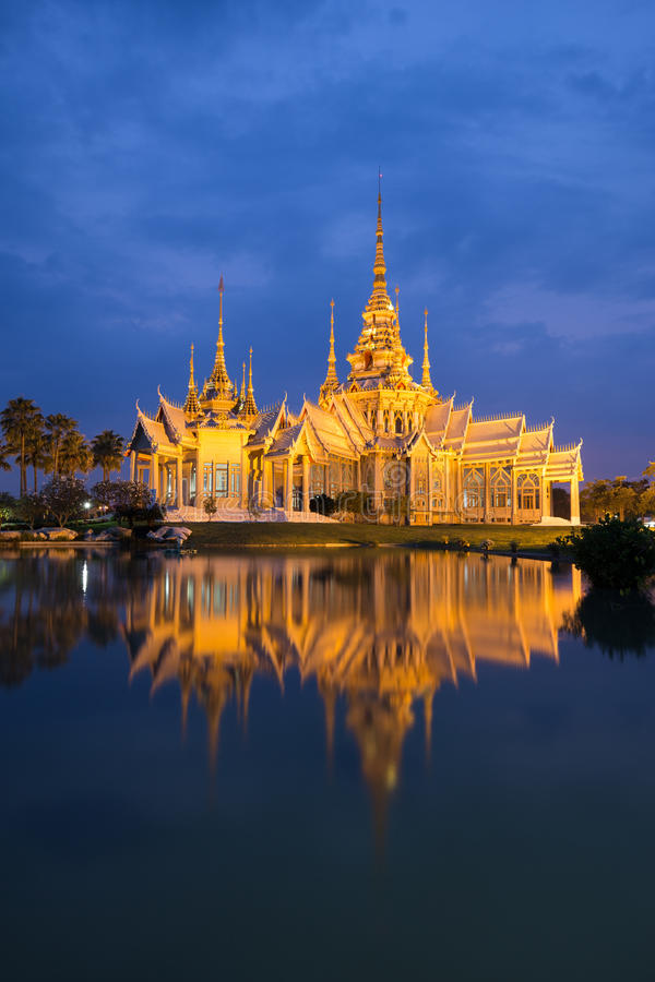 Wat Luang Pho Toh temple with water reflection in twilight time, Thailand. Wat Luang Pho Toh temple with water reflection in twilight time at Nakhon Ratchasima stock images