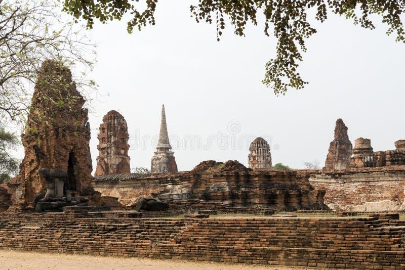 Wat Mahatat,阿尤特拉利夫雷斯,泰国 免版税库存照片