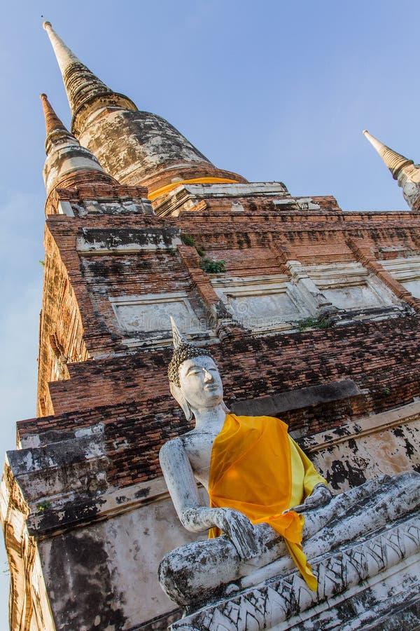 Wat Mahathat阿尤特拉利夫雷斯,古老泰国 免版税库存照片