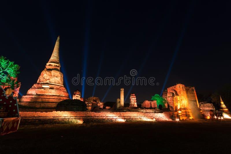 Wat Mahathat освещает вверх стоковое изображение