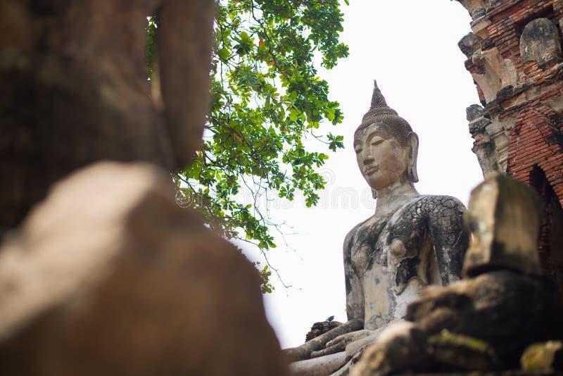 Wat Mahathat Ayutthaya De oude Siamese kunst en de cultuur royalty-vrije stock afbeelding