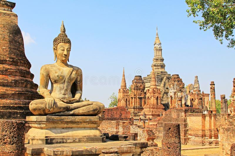 Wat Mahathat, Sukhothai, Thailand. Wat Mahathat is the most important and impressive temple compound in Sukhothai Historical Park. When evaluating the Sukhothai royalty free stock images