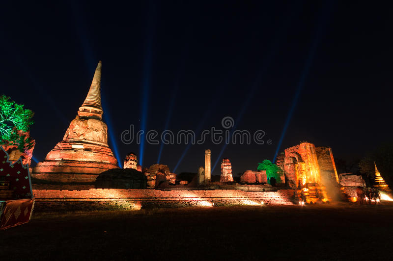 Wat Mahathat si accende immagine stock