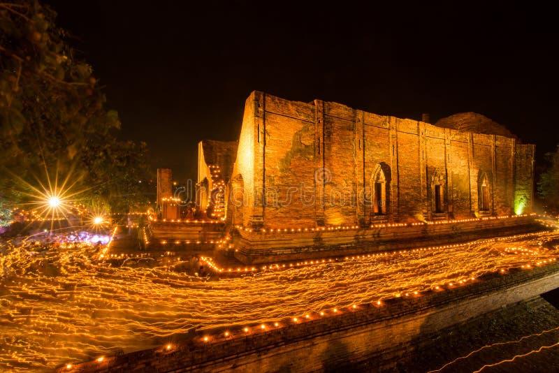 Wat Maheyong在阿尤特拉利夫雷斯, Makha布哈天 库存图片