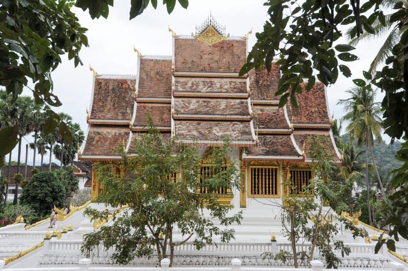 Wat Mai Suwannaphumaham Buddhist tempel i Luang Prabang på Laos arkivfoto