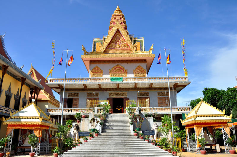 Wat Ounalom. Is the most important wat of Phnom Penh, and the center of Cambodian Buddhism. It was established in 1443 and consists of 44 structures. It located royalty free stock photography