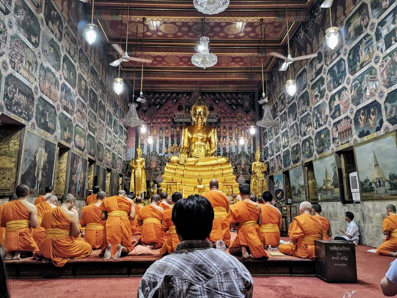 Wat paknam Thonburi Thailand Bangkok. Gold buddha in temple royalty free stock image