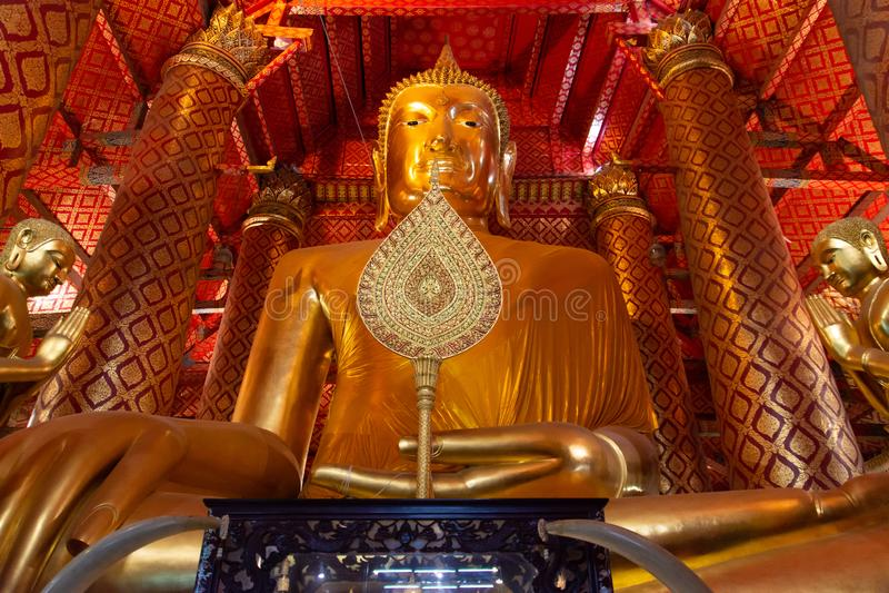Wat Panancherng是来到泰国的游人梦想目的地阿尤特拉利夫雷斯的寺庙  库存图片