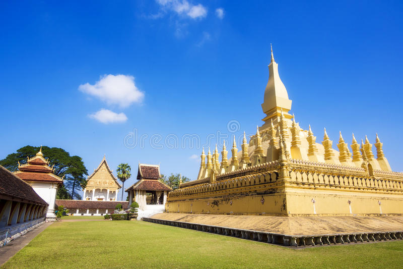 Wat Pha That Luang Temple a Vientiane, Laos immagine stock