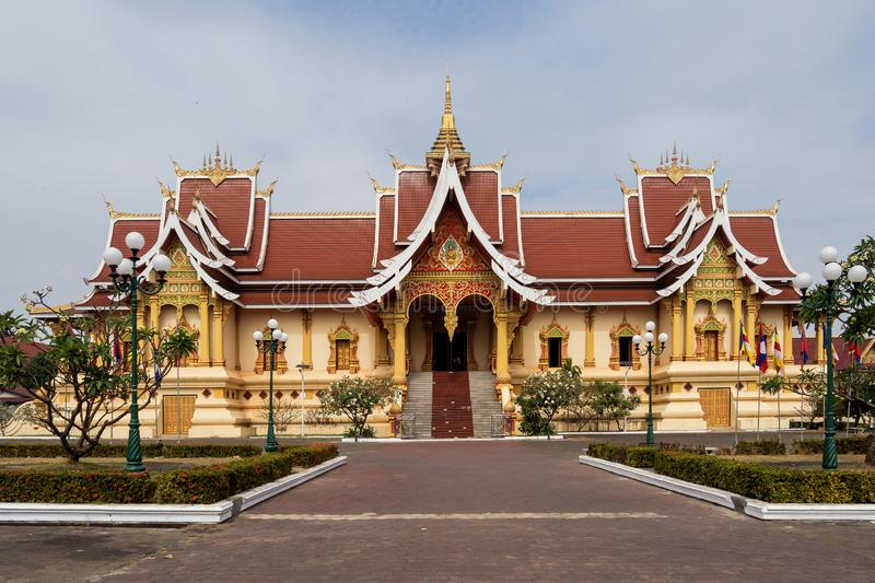 Wat Pha That Luang Temple a Vientiane, Laos fotografia stock