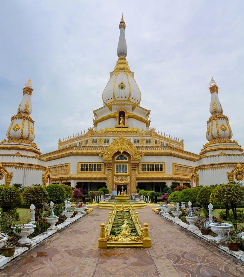 Temple Wat Pha Namthip Thep Prasit Wanaram in Roi Et, Thailand. Wat Pha Nam Yoi Temple building. Phra Maha Chedi Chai Mongkol Pagoda, Wat Pha Nam Yoi Temple, Roi stock images