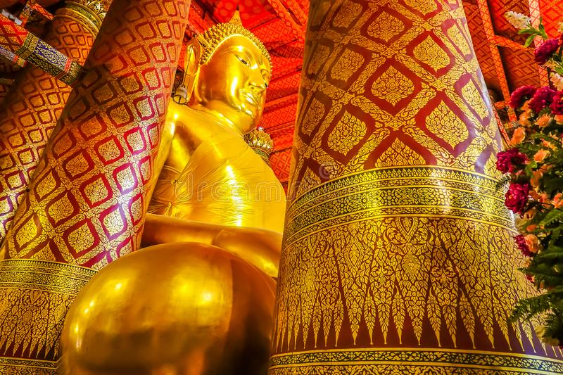 Wat Phanan Choeng is a Buddhist temple The huge Buddha Statue called Luang Pho Tho, Thai people worship Buddha temple at the city. Of Ayutthaya royalty free stock image