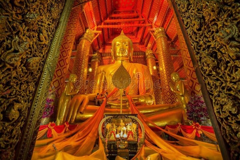 Wat Phanan Choeng temple. People work with cloth on Buddha image in Wat Phanan Choeng temple stock photo