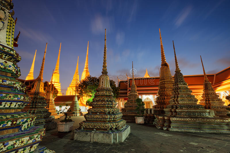 Wat Pho in Bangkok, Thailand. Night scene of Wat Pho in Bangkok, Thailand royalty free stock photos