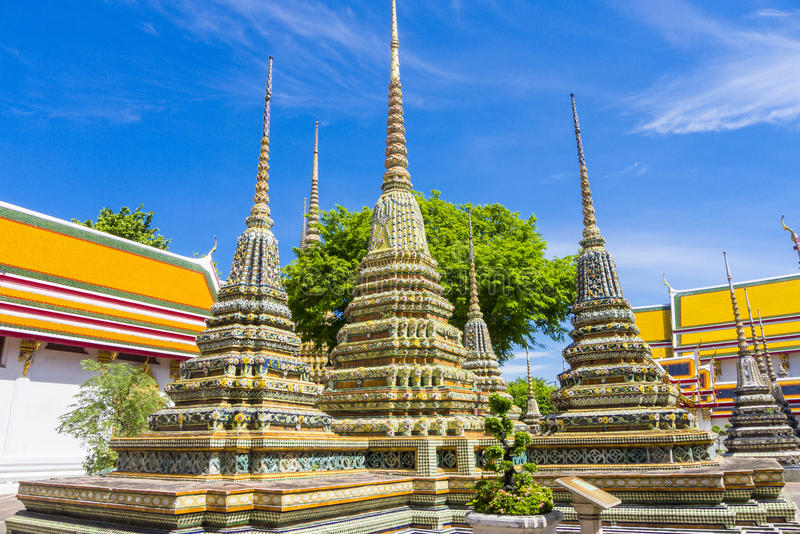 Wat Pho Bangkok Thailand. Stupas at Wat Pho (Temple of the Reclining Buddha), Bangkok, Thailand stock photo