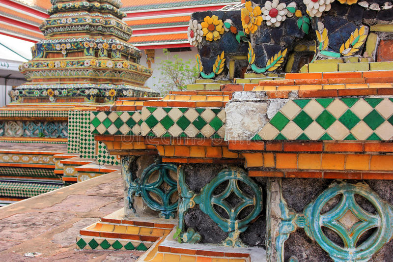 Wat Pho lying buddha temple in Bangkok, Thailand - details royalty free stock photos