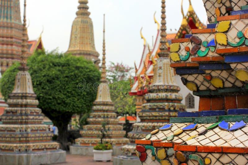 Wat Pho lying buddha temple in Bangkok, Thailand - details stock photos