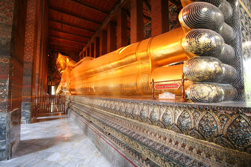 Wat Pho Reclining Buddha stock photography