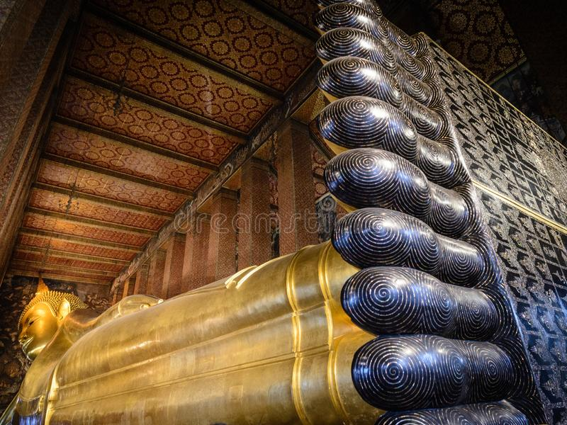 Wat Pho Temple av vilaBuddha i Bangkok, Thailand arkivbild