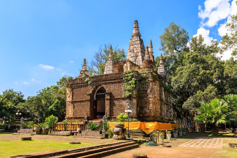 Wat Photharam玛哈Wihan切特Yot城镇人的古老塔在清迈,在泰国北部 库存图片