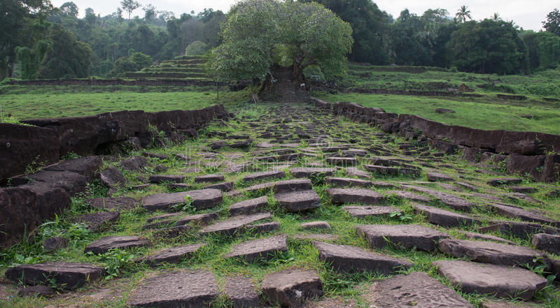 Wat Phou Khmer temple Lao stock images