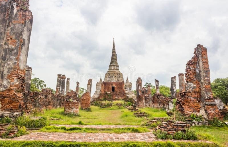 Wat Phra斯里Sanphet寺庙,阿尤特拉利夫雷斯,泰国 免版税库存照片