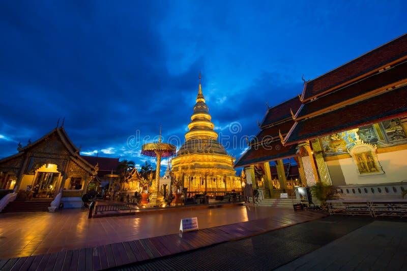 Wat Phra暮色时间的那骇黎朋猜 免版税库存图片