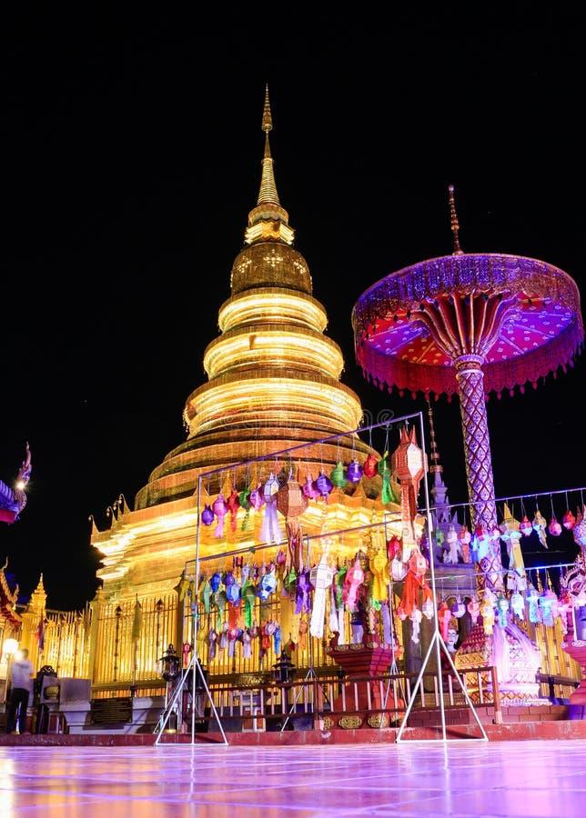 Wat Phra暮色时间的骇黎朋猜,南奔泰国 图库摄影